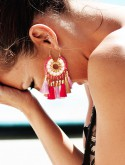 FUCSIA AND GOLD EARINGS
