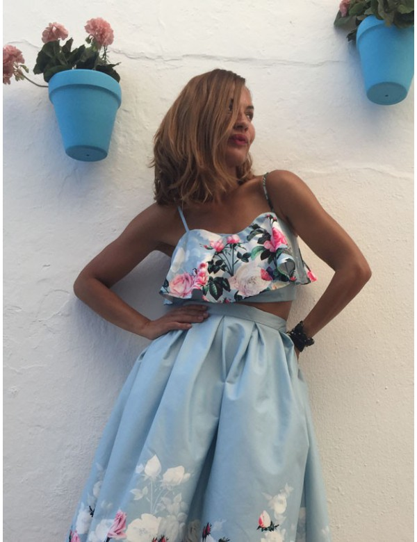 BABY BLUE CUBAN TOP AND SKIRT