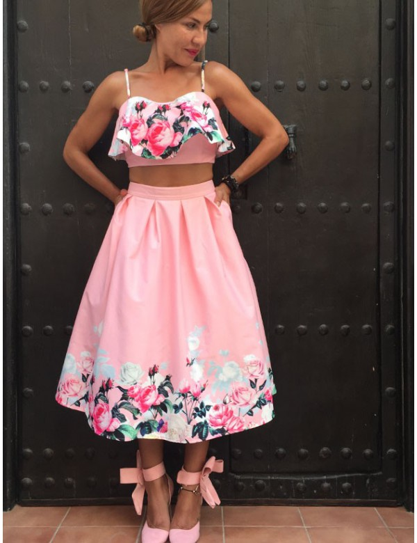 PINK CUBAN TOP AND SKIRT