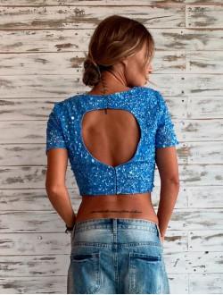 Blue back Pailletes top