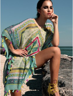 GREEN AND YELLOW PONCHO.