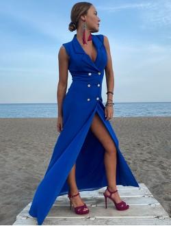 Blue boton Dress
